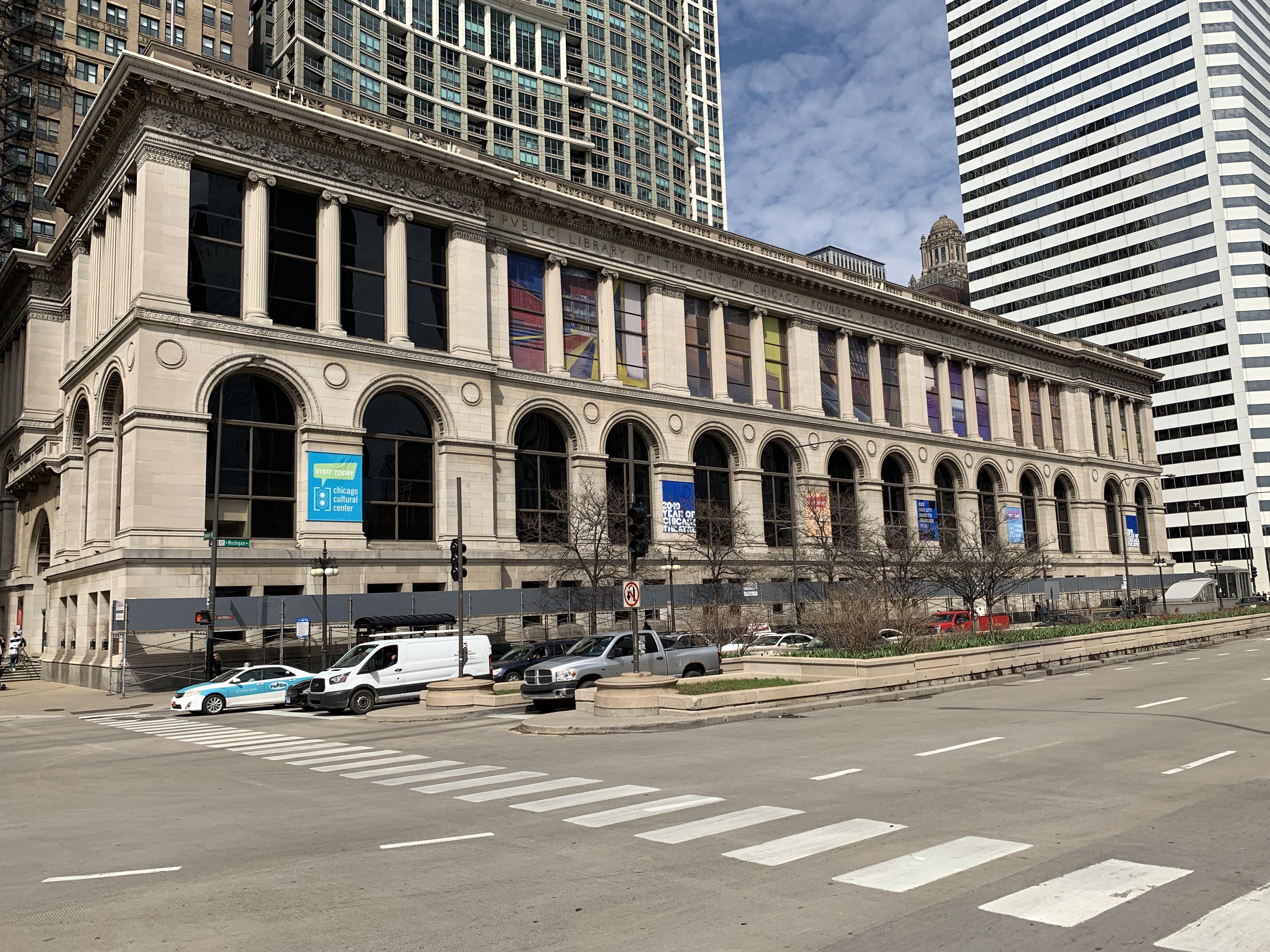 Chicago Cultural Center pedestrian canopy scaffold 1