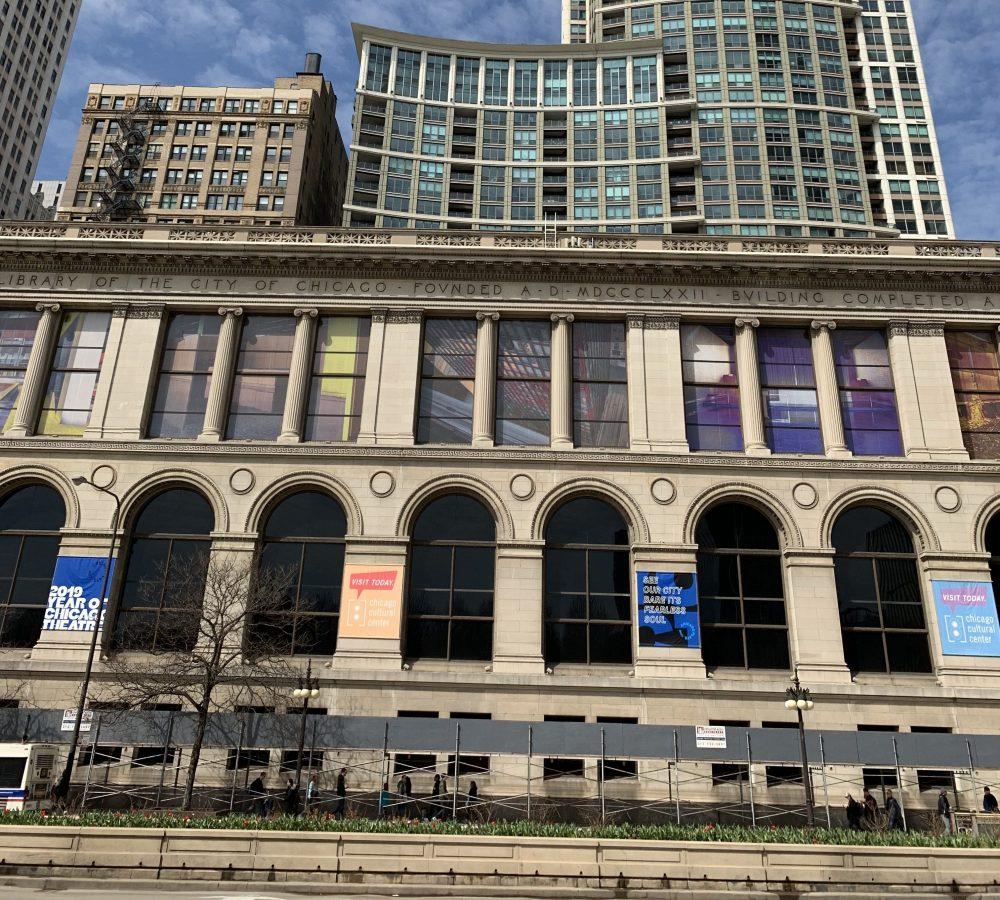 Chicago Cultural Center pedestrian canopy scaffold