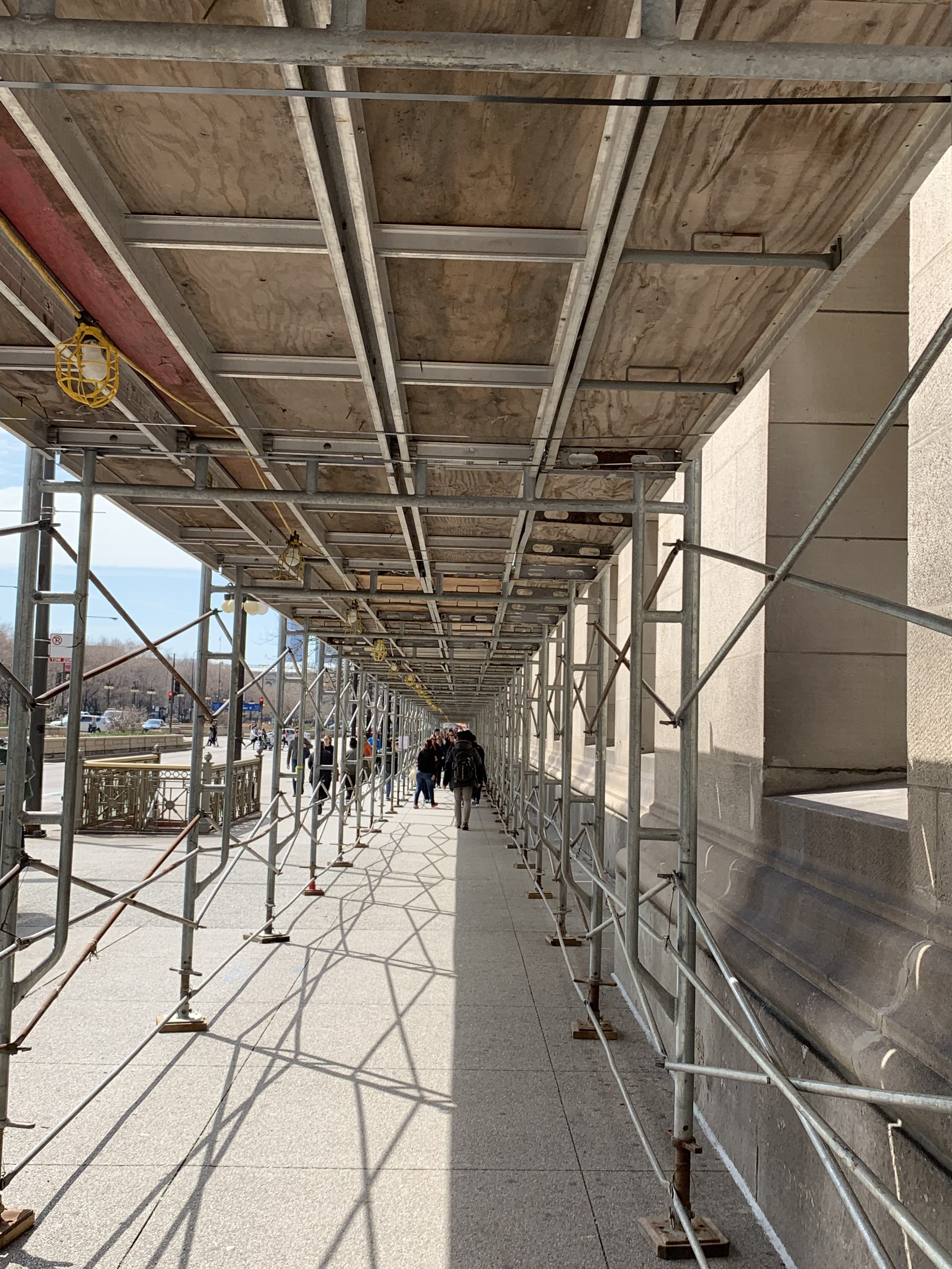 Chicago Cultural Center pedestrian canopy scaffold 3